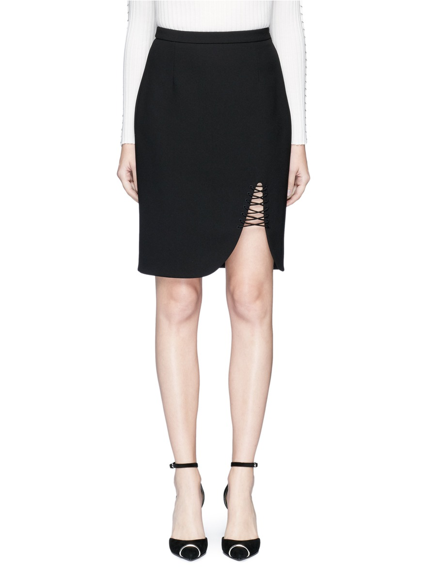 Pencil Skirt with Lace-Up Detail