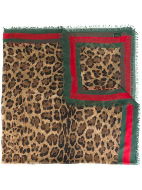 LEOPARD PRINT SCARF WITH WEB