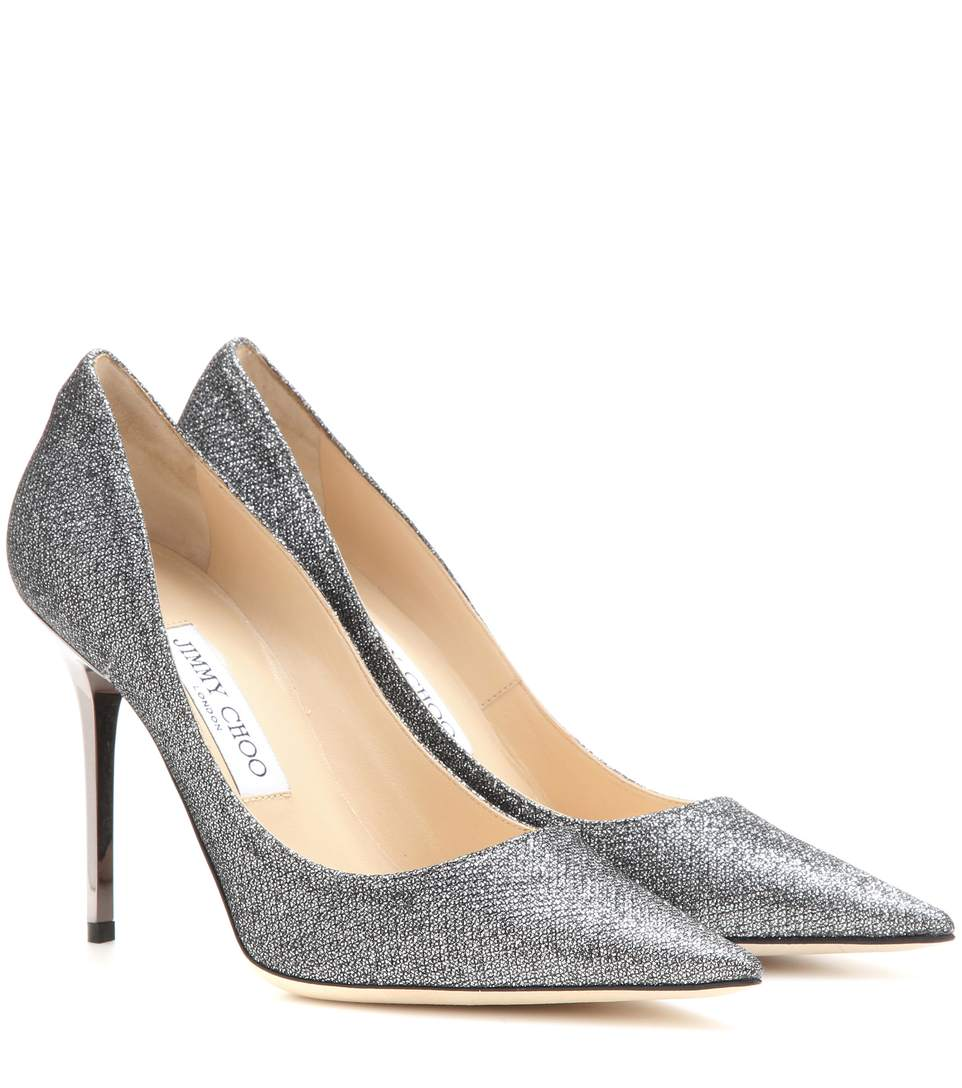 ROMY 60 Anthracite Lamé Glitter Fabric Pointy Toe Pumps