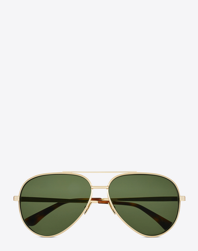 CLASSIC 11 ZERO SUNGLASSES IN SHINY GOLD METAL WITH GREEN LENSES