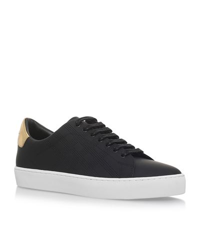 PERFORATED CHECK LEATHER TRAINERS