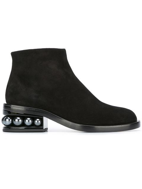 CASATI FAUX-PEARL HEELED SUEDE ANKLE BOOTS