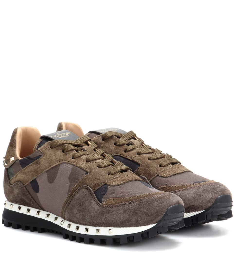 Women's Camo Studded Suede Sneakers