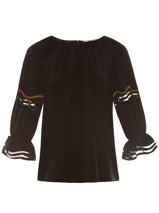 Fendi Silks Wave ruffled-cuff crepe de Chine blouse