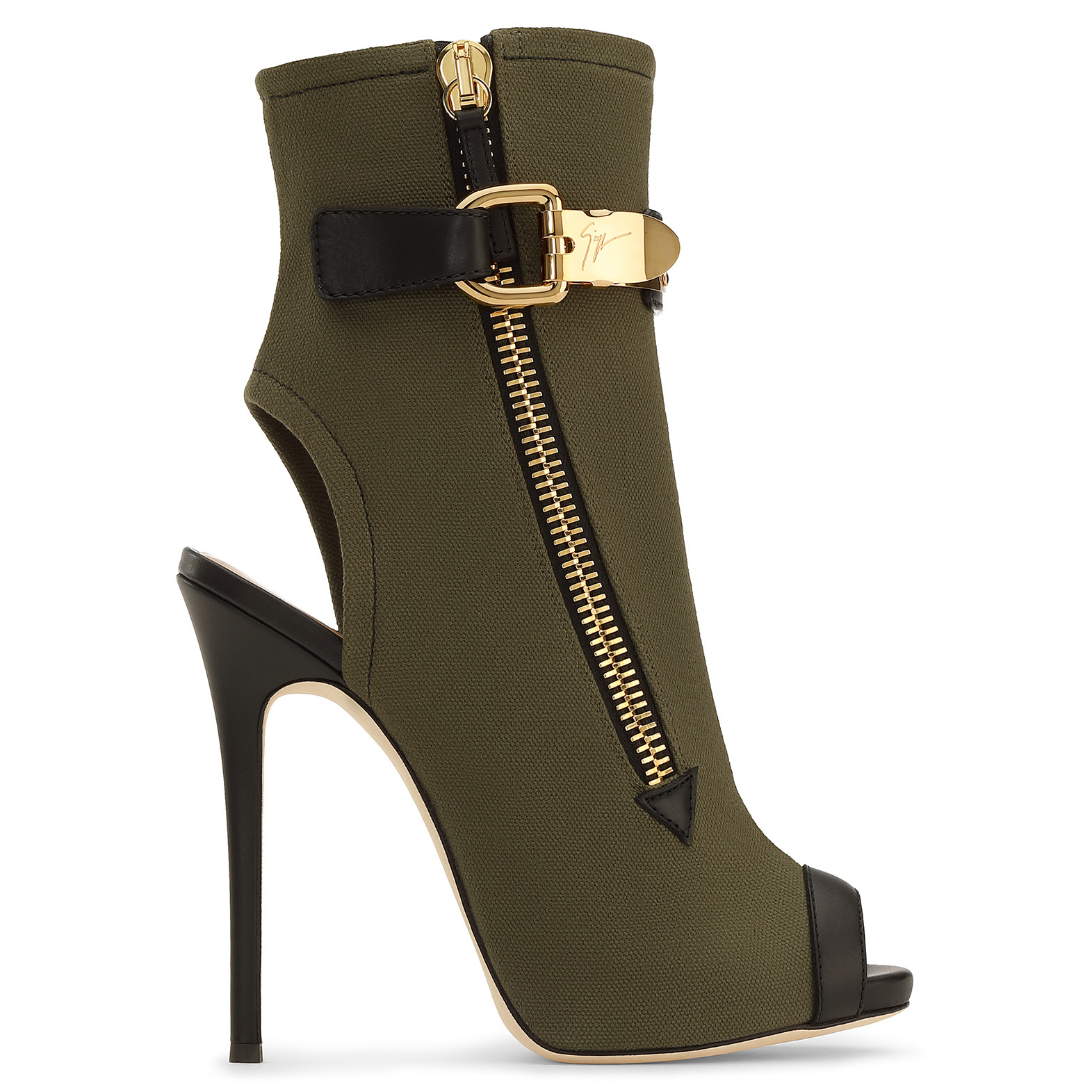 WOMAN ROXIE LEATHER-TRIMMED CANVAS ANKLE BOOTS ARMY GREEN