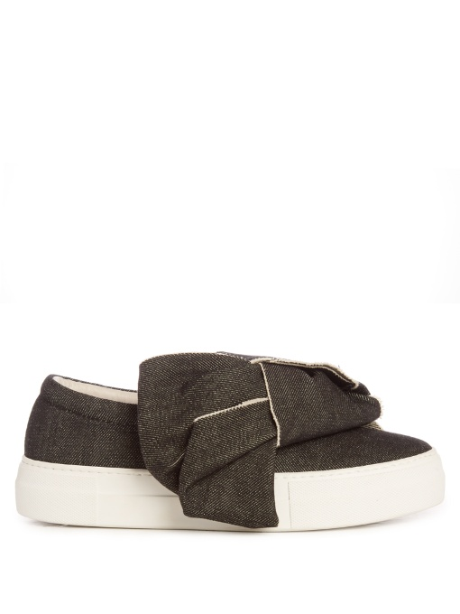 DENIM BOW LEATHER AND COTTON SNEAKERS