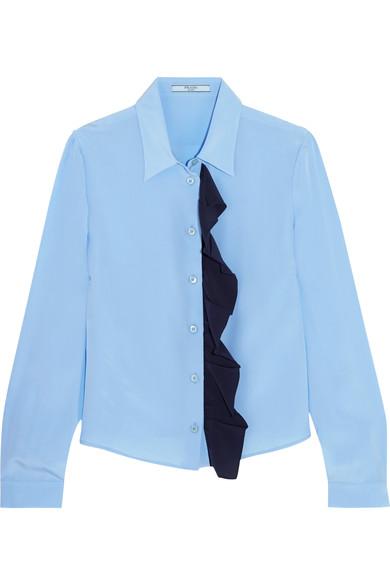Ruffled silk crepe de chine shirt