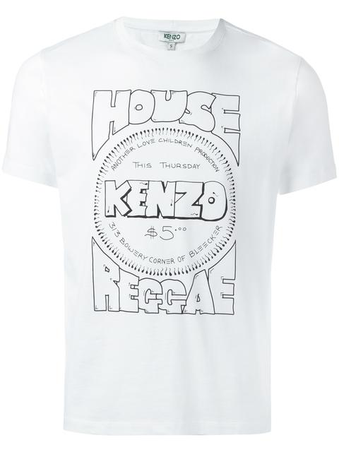 KENZO Whitw Cotton T-Shirt With Front Print