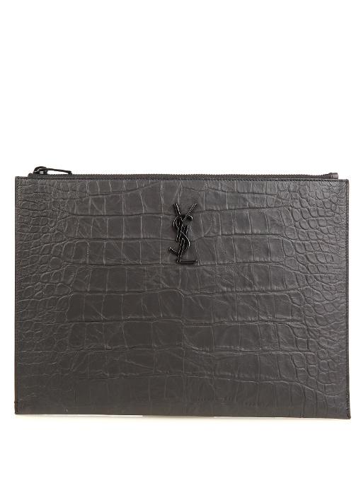 Monogram crocodile-effect leather pouch