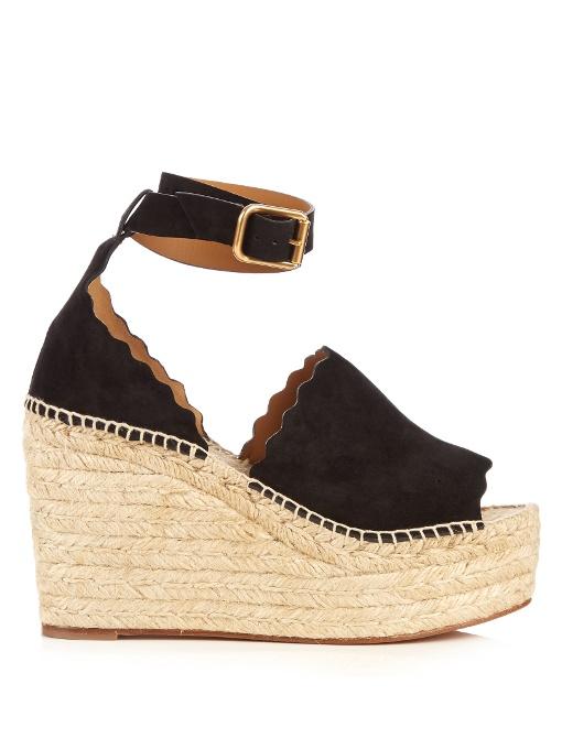 Lauren Suede Ankle-Strap Espadrille Wedge Sandals