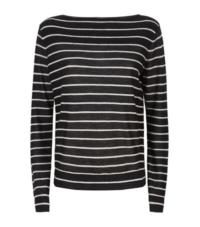 Vince Cashmeres Boat Neck Striped Cashmere Sweater