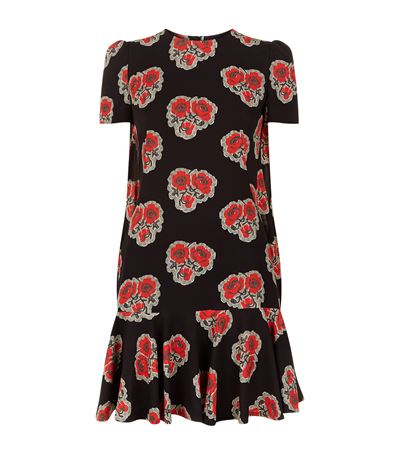 Alexander Mcqueen Silks Floral Print Silk Peplum Dress