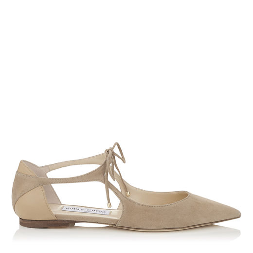 VANESSA FLAT Nude Suede and Nappa Pointy Toe Flats