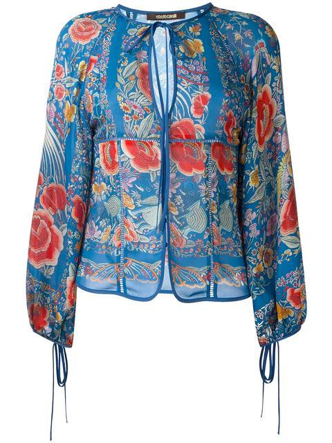 ROBERTO CAVALLI Enchanted Garden-Print Silk-Georgette Blouse in Colour: Sea-Blue