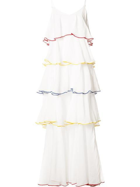pleat trim flared dress