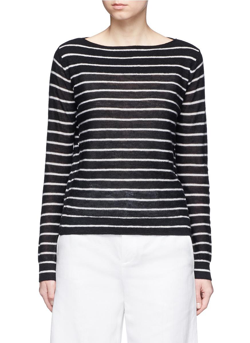Vince Cashmeres Stripe boat neck cashmere sweater
