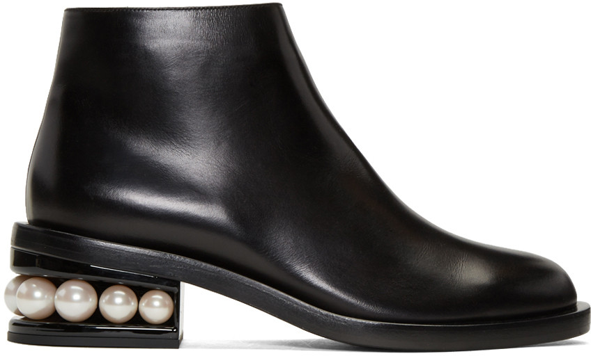 NICHOLAS KIRKWOOD 'Casati' Faux Pearl Heel Leather Ankle Boots