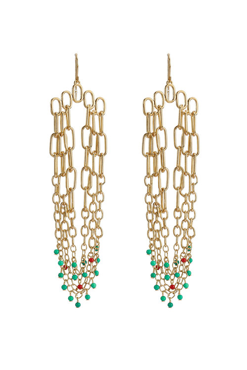 SIOUX GOLD-PLATED PENDANT EARRINGS
