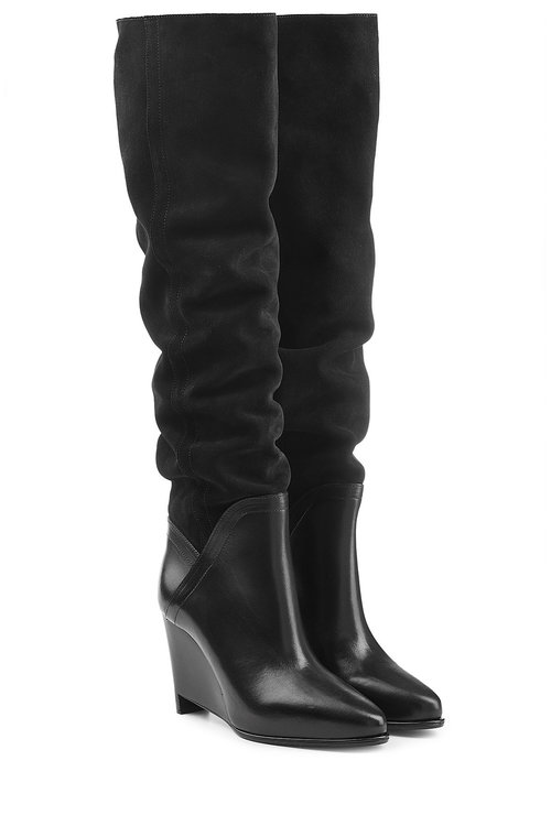 SUEDE AND LEATHER WEDGE BOOTS