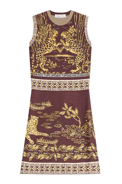 VALENTINO Sleeveless Jaguar-Print Sheath Dress, Black/Gold in Black Gold