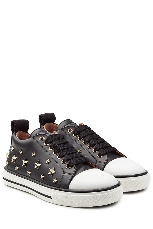 Red Valentino Leathers Embellished Leather Sneakers