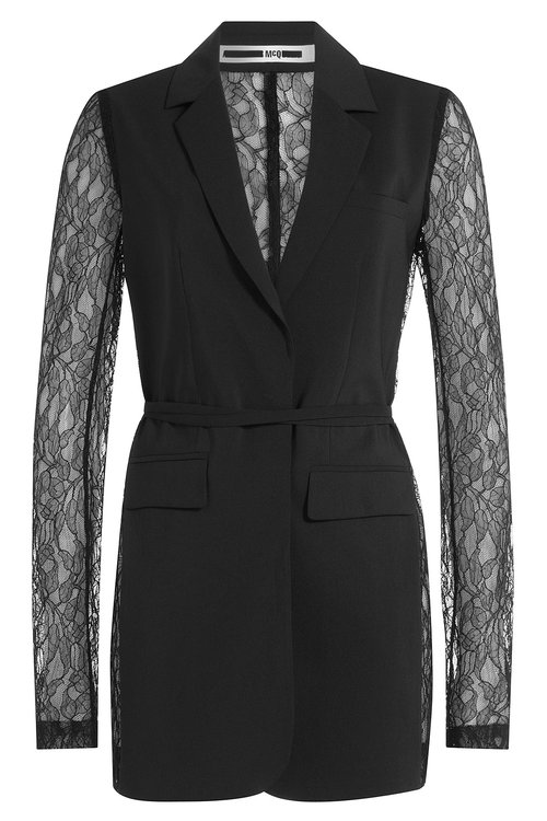 Blazer with Lace Sleeves