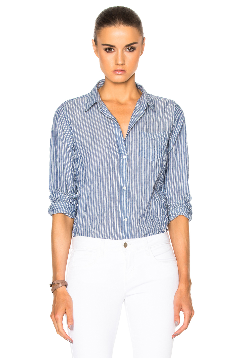 CLAIRA STRIPED COTTON POPLIN SHIRT