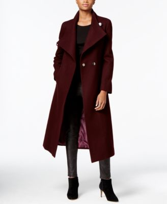 ASYMMETRICAL BELTED MAXI WOOL COAT