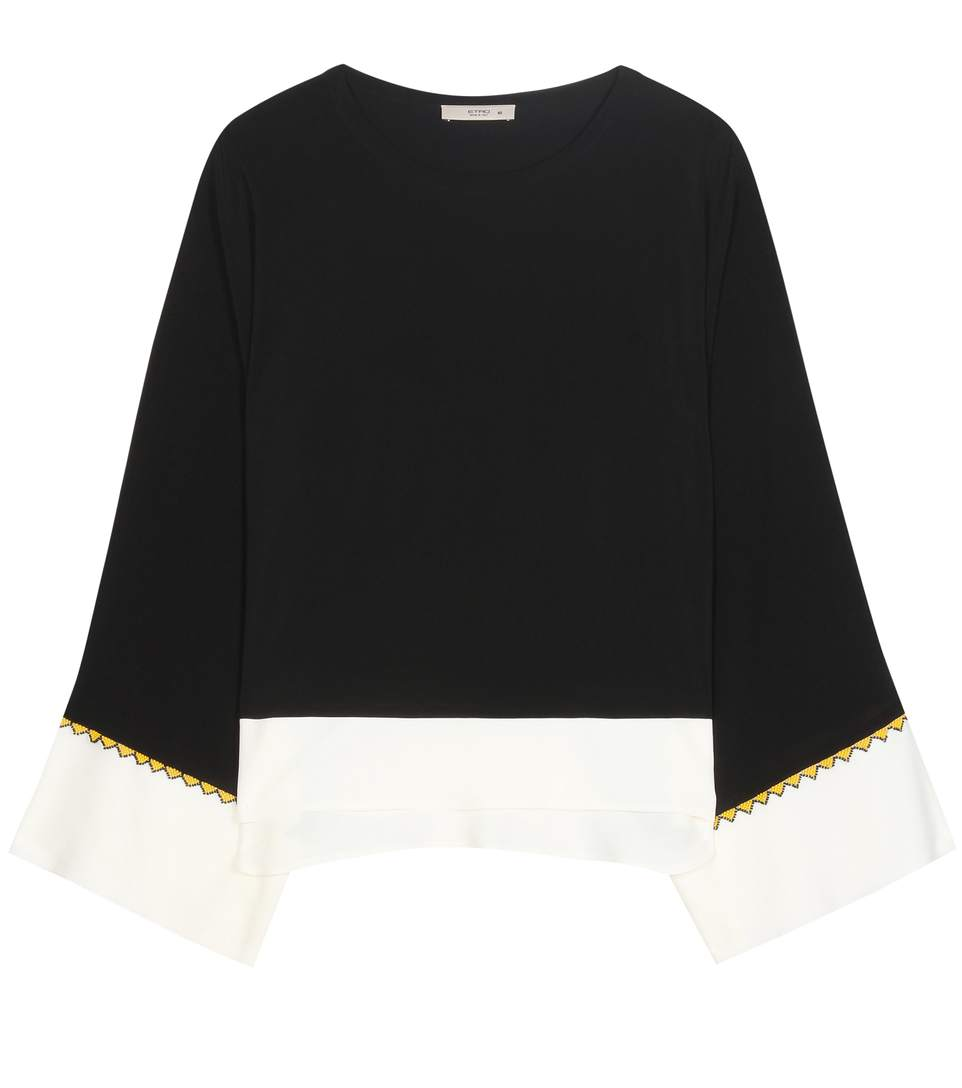 BEADED DETAILING FLARED BLOUSE
