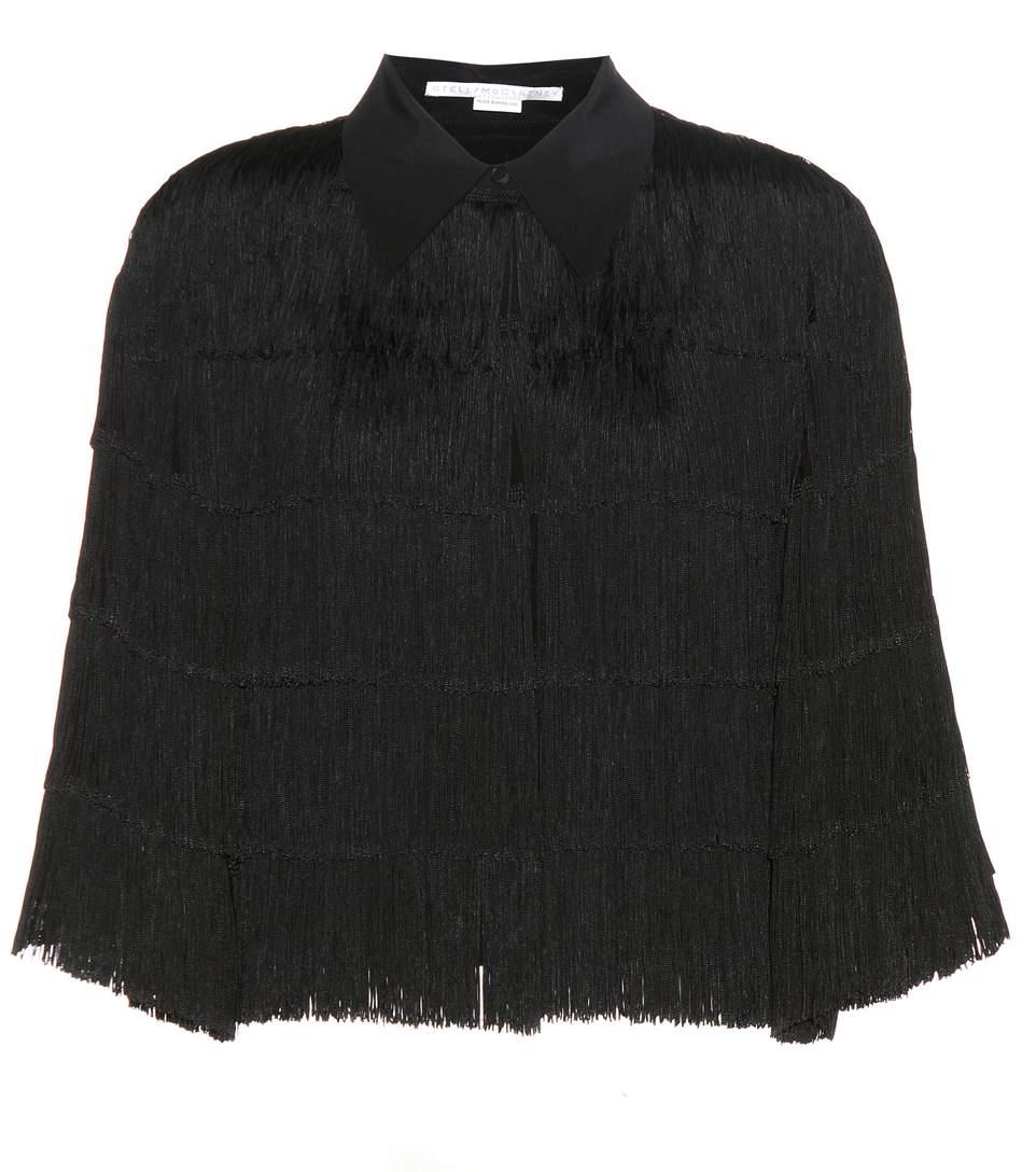 Cropped Fringe Silk Jacket