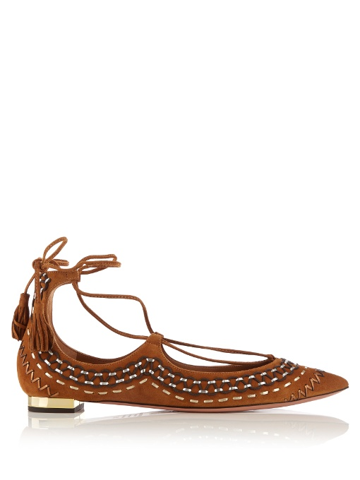 WOMAN CHRISTY FOLK EMBROIDERED SUEDE POINT TOE FLATS TAN