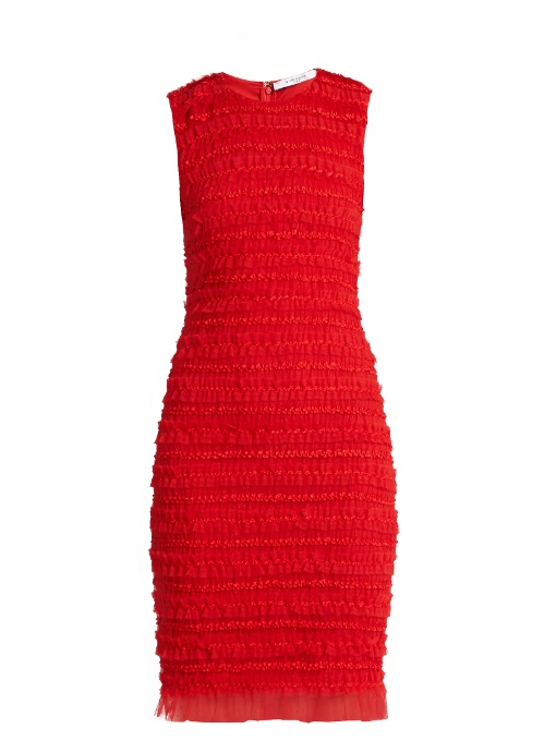 Givenchy Dresses RUFFLE-TRIMMED SLEEVELESS TULLE PENCIL DRESS