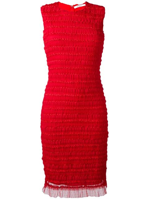 Givenchy Dresses GIVENCHY RUFFLE EMBELLISHED PENCIL DRESS - RED
