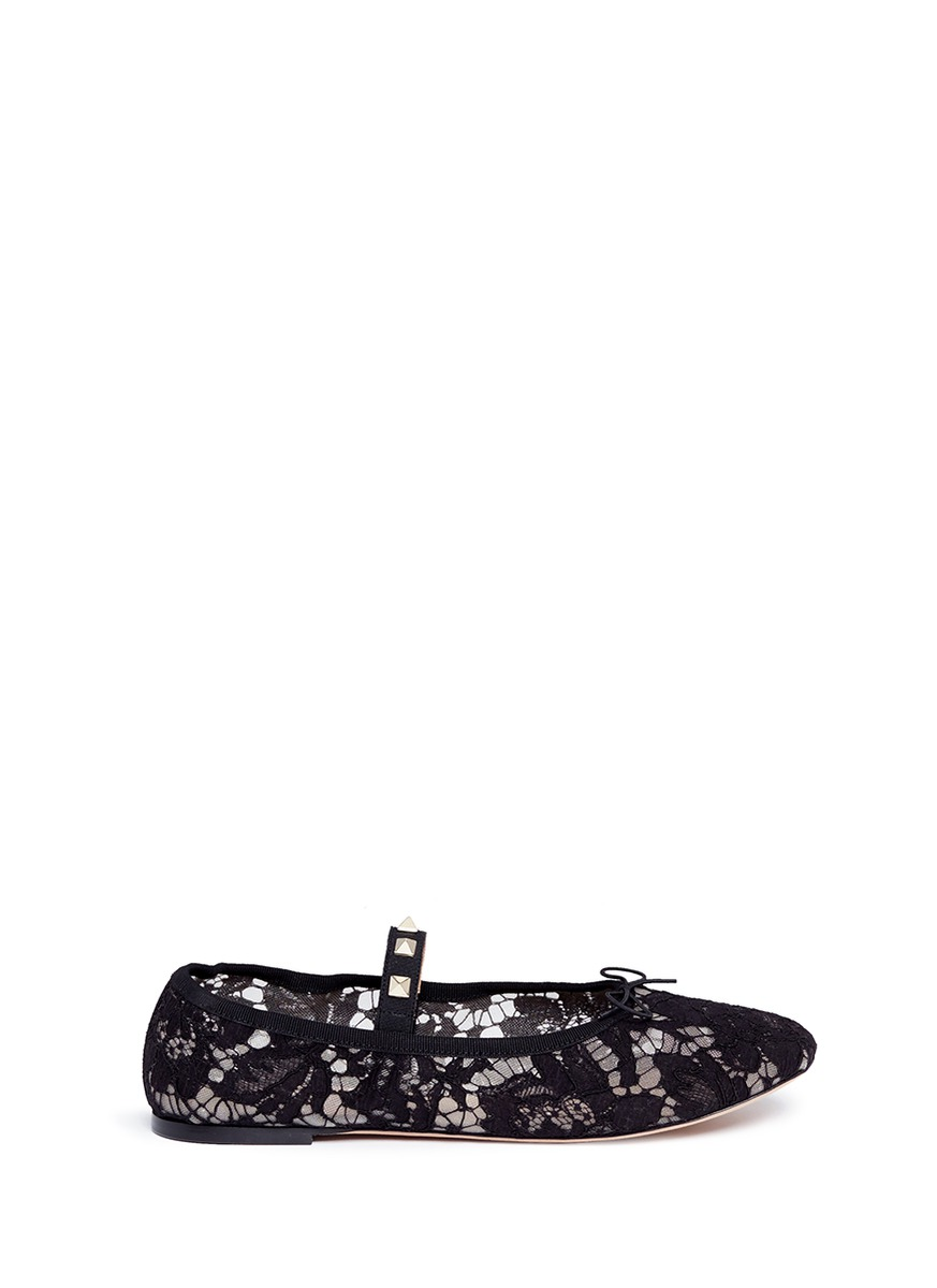 Valentino Leathers 'Rockstud' elastic band guipure lace ballet flats