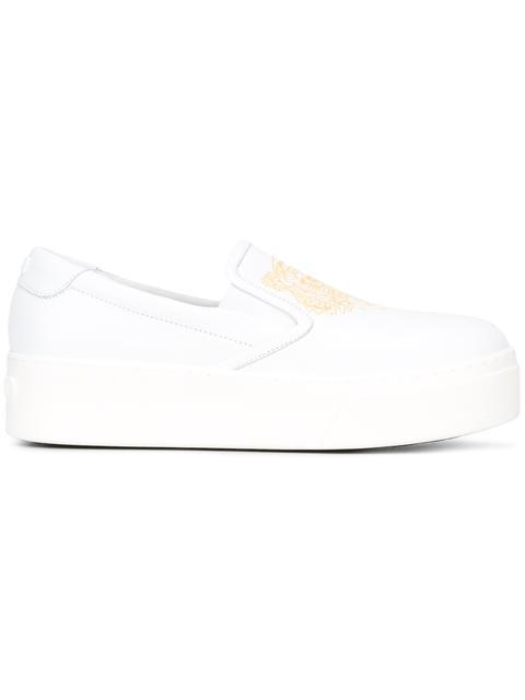 40MM TIGER LEATHER PLATFORM SNEAKERS, WHITE