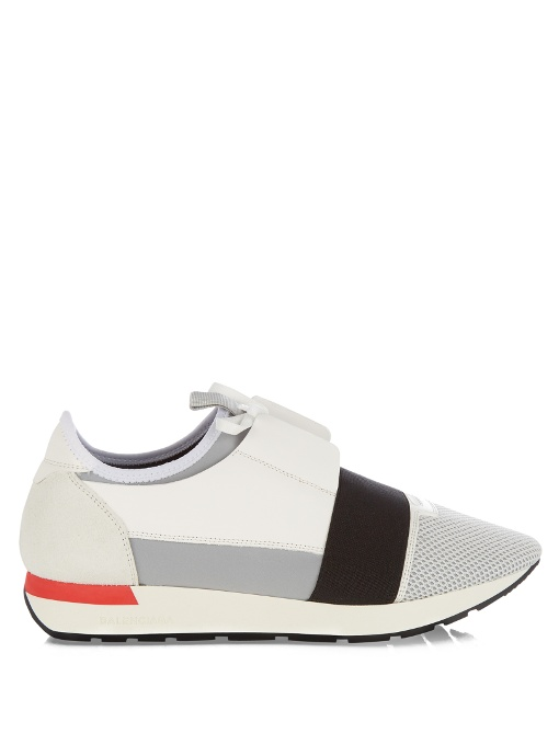 Match Leather, Textured-Suede, Neoprene and Mesh Sneakers