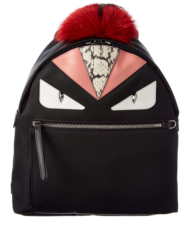 Monster Nylon, Leather & Mini Fur Backpack