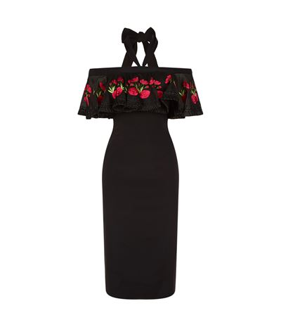 Temperley London Downs Lyra Fitted Off Shoulder Dress