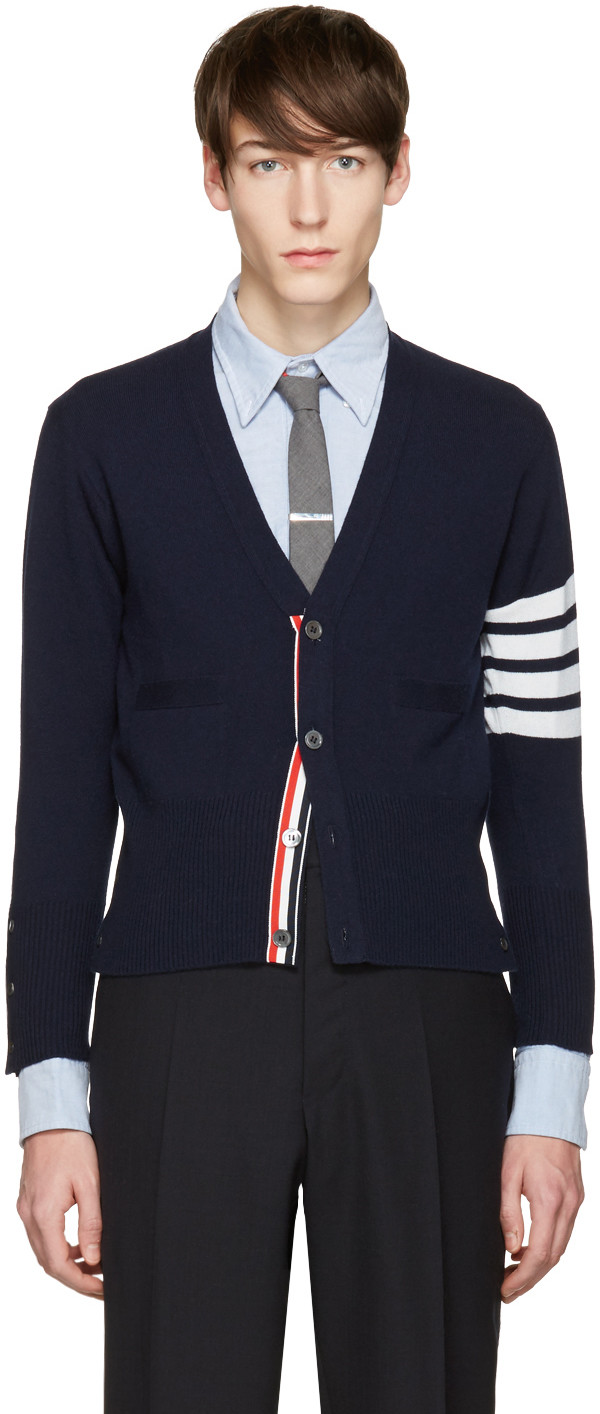 Navy Classic V-Neck Stripe Cardigan Clearance Store Cheap Price Sale Best Seller xchYq4rQR