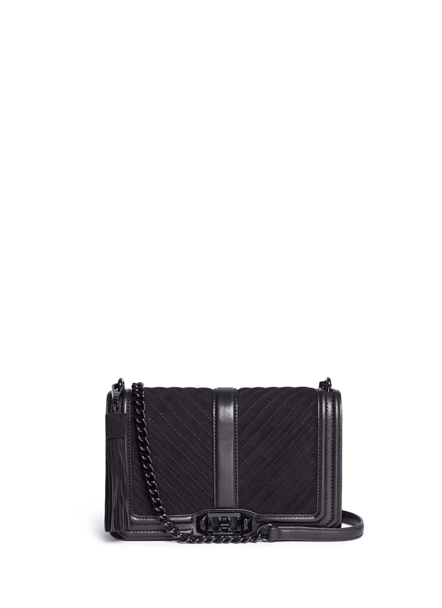 'Love' quilted suede flap leather crossbody bag