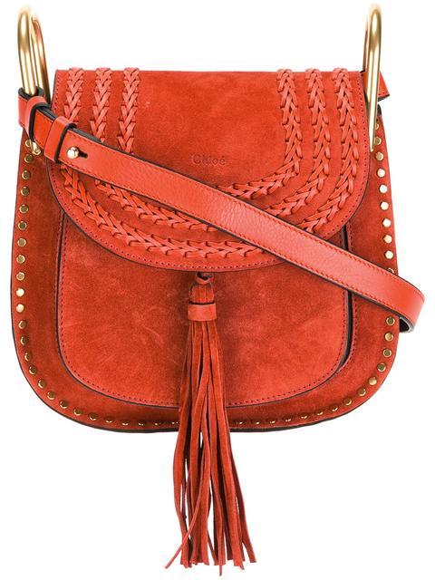 Hudson mini whipstitched suede shoulder bag