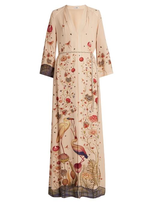 The Jill Light Crepe V-Neck Button Down Full Length Dress