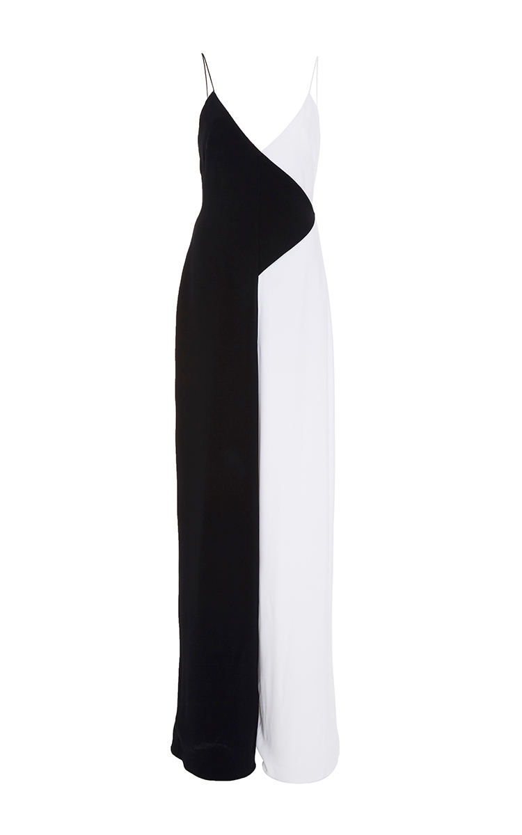COLORBLOCK SLEEVELESS V-NECK JUMPSUIT, BLACK/WHITE