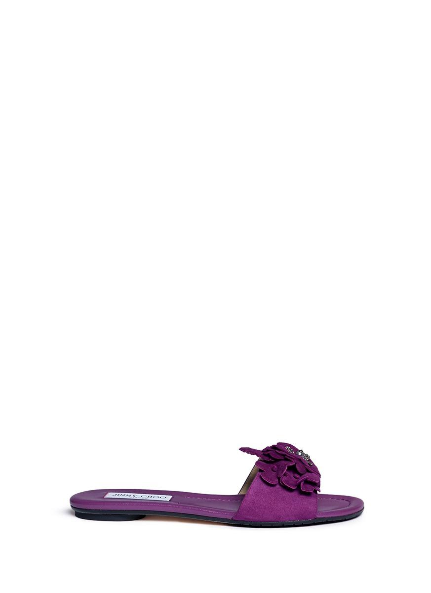 Jimmy Choo Suedes 'Neave' strass floral appliqué suede slide sandals