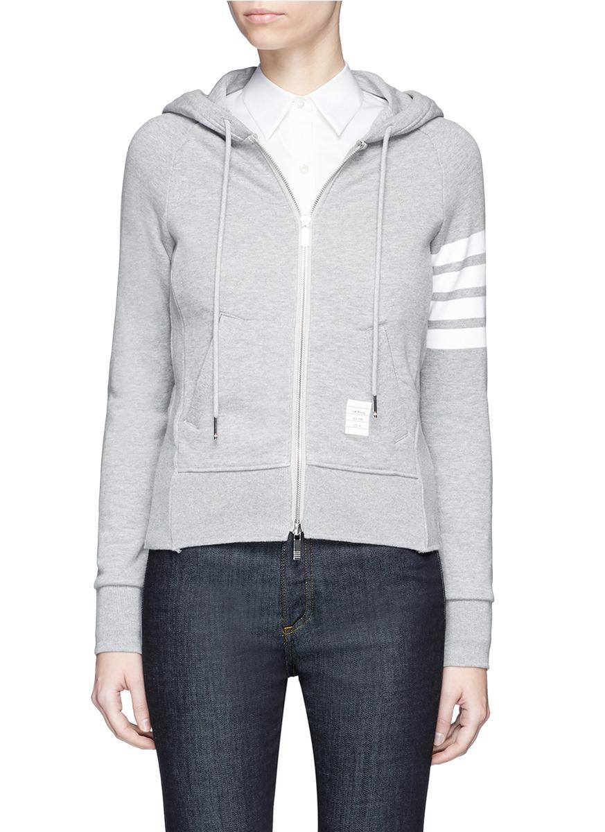 Womens Full Zip Hoodie With Engineered 4-Bar Stripe
