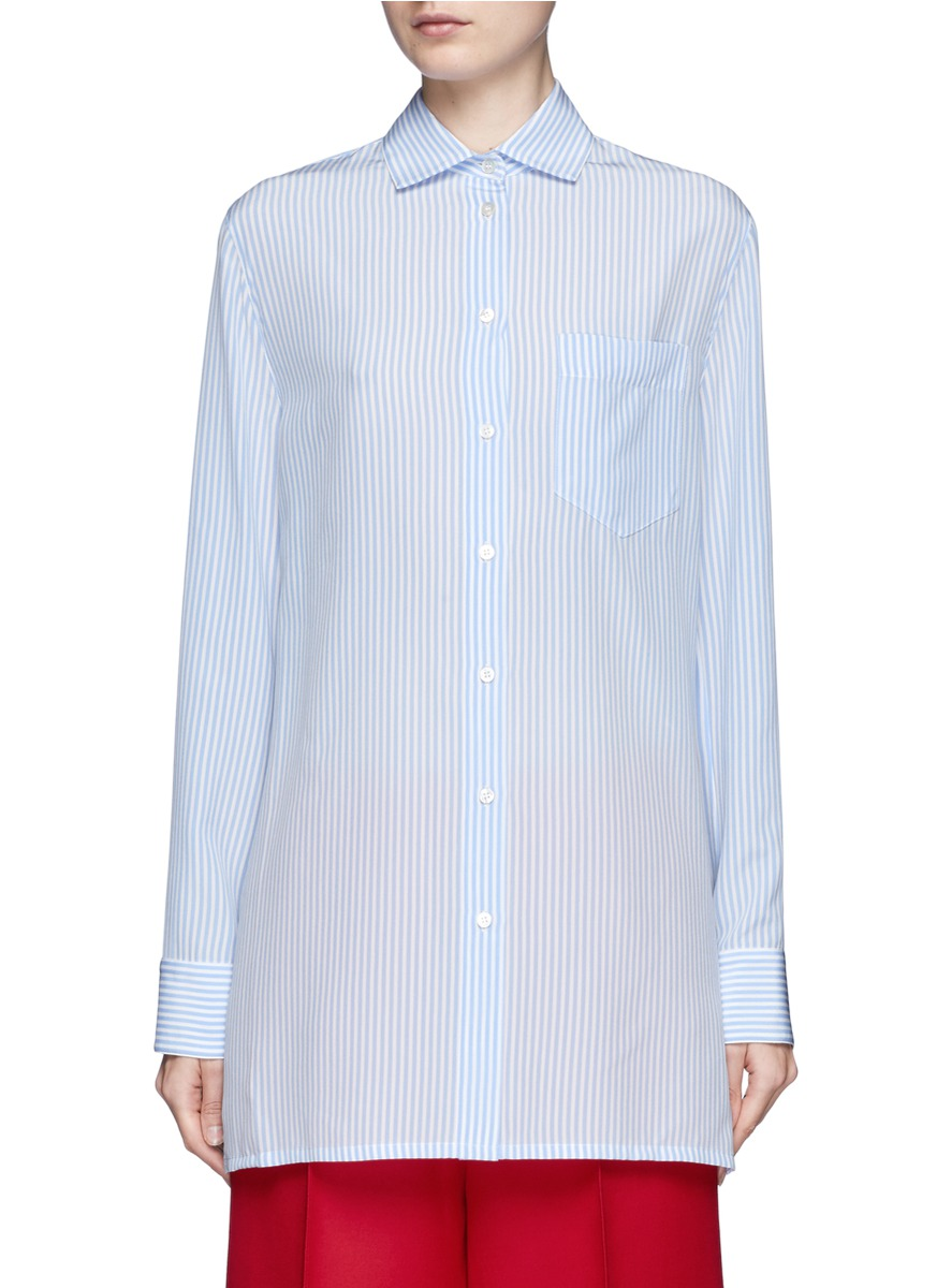 Valentino Silks Drape open back stripe silk shirt
