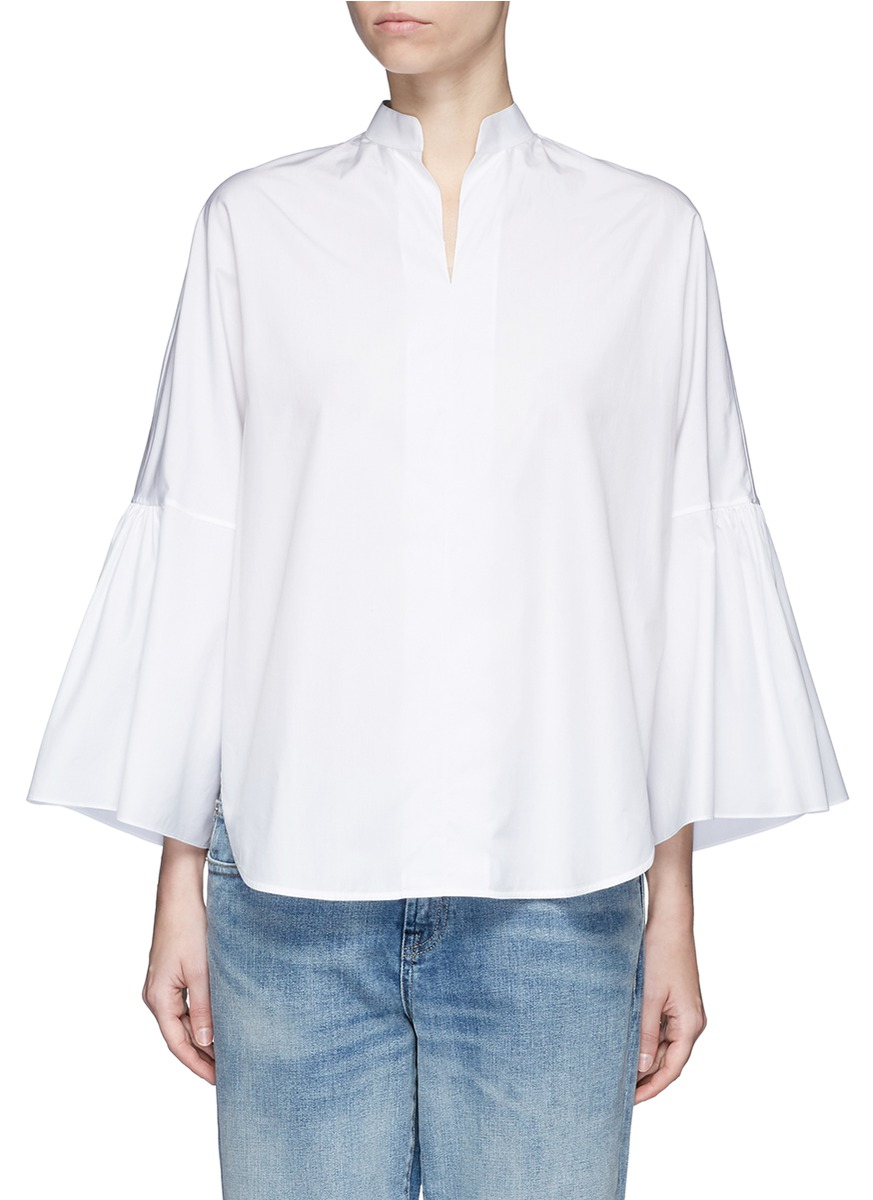 Valentino Cottons Ruffle sleeve cotton poplin shirt