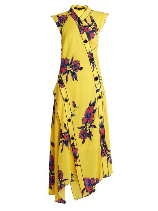 Proenza Schouler Silks Lily-print asymmetric silk-crepe dress