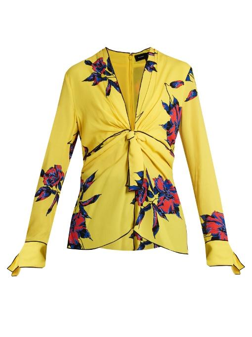 Proenza Schouler Silks Lily-print knot-front silk-crepe top
