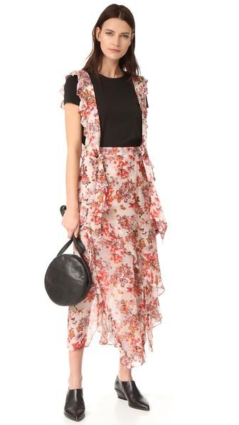 shoulder strap ruffled skirt